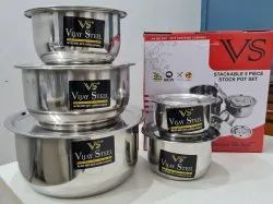 Polished Stainless Steel Stock Pot Set, For Home, Size: 14 Cm