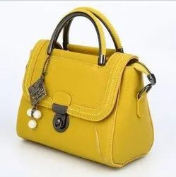 Yellow Leather Handbags, For Daily Use, Gender: Women