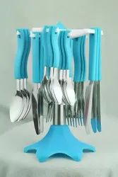 Stainless Steel Multicolor Spoon And Fork Set, For Home, Size: 7 Inch