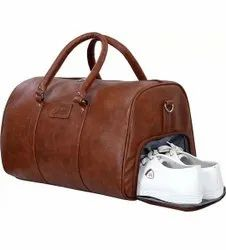 Brown Solid Leather duffle bags Manufacturer and Exporters, For Travel