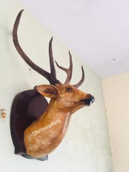 Fiber deer face statue