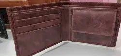 Maroon Bi Fold Men's print leather wallet, Card Slots: 5