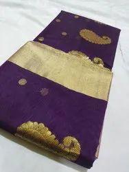 Wedding Wear Printed Purple Chanderi Traditional Masrize Cotton Saree, With Blouse Piece, 6.25m
