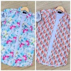 Cotton Multicolor Designed Shirt, Size: M