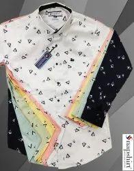 Party Wear Printed Men Designer Shirt, Size: Medium