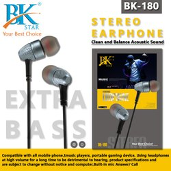 BK STAR Mobile STEREO EARPHONE, Model Name/Number: BK-180