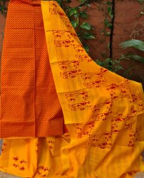 Kalamalini Unstitched Thread Woven Cotton Handloom Suit, Handwash