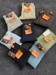 Cotton Flat Trousers Armani lycra slimfit pant, Color: Multicolor