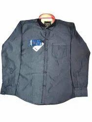 Collar Neck Formal Wear Blue Cotton Shirt, Size: 38