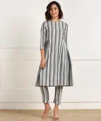 Handloom Cotton Fabric Straight Fit Comfort Lady Kurti Pant