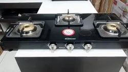 Stainless Steel Sunflame Gas Stove Aura 3B, For Restaurant