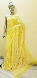 10 to 12 colours available Party Wear Georgette full jaal handwork 6.25 meter saree