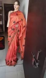 Embroidered Vichitra Silk Saree, 6 m (with blouse piece)
