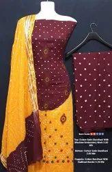 Cotton Satin Bandhni