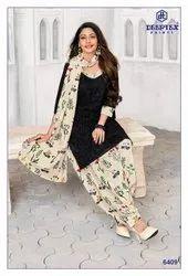 Cotton Black Unstitched Salwar Kameez Material