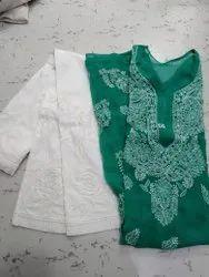 Casual Wear Regular Georgette Long Rose Kurti, Wash Care: Handwash
