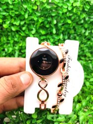 Metal Jewel Ladies Watch With Bracelet, For Shop