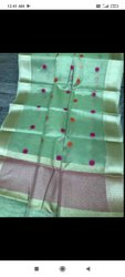 Kundan Work Pink Tissue Silk Saree, 6.3 m (with blouse piece)