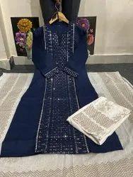 Rayon Slub Fabric Kurti With Printed Pant, Duptta