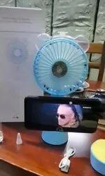 Mini Air Cooling Fan With Mobile Holder Stand And Water Tank Ear, Usb Charging Support