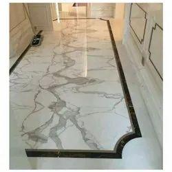 White Dining Halls Italiyan Marble Stone Instillation Work, Application Area: Flooring, Thickness: 18 Mm