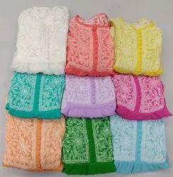 Embroidered Multicolor Chikankari Bridal Gowns