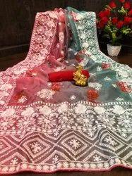 Organza Embroidery Saree