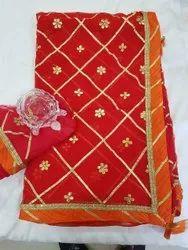 Ladies Bandhani Printed, 5.5 m (separate blouse piece)