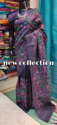 Katan Silk Floral Jaal Embroidery Work Sarees