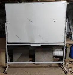 E3 Ceramic Steel White Marker Board With 4 Wheel Stand