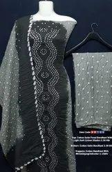 Cotton satin panel bandhani suit