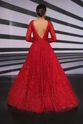 Red Net Designer Wedding Gown, Size: S To Xxl