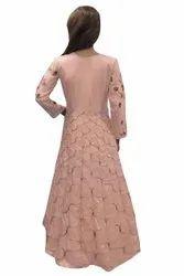 Heavy dola silk Embroidered Designer Gown