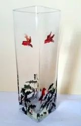 Transparent Square Glass Vase, Shape: Cuboidal