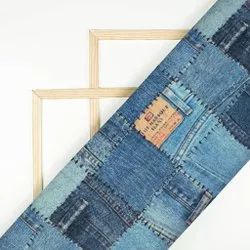 Yale Blue Denim Pattern Digital Print Poly Voile Fabric (Width 56 Inches)