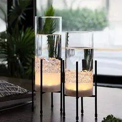 Black Modern Decorative Glass show piece with Iron Stand, Size: Medium, Shape: Bottle Shaped