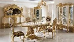Golden wooden dinning table heavy carving