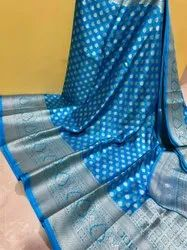 Party Wear Weaving Jequard Warm Silk, 6.3 m (With Blouse Piece)