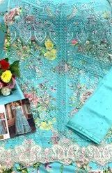 Arctic Blue Embroidery Semi-Stitched Anarkali Suit