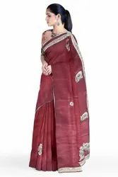 Wedding Wear Hand Embroidery Saree, With Stitched Blouse, 6.3 m (with blouse piece)