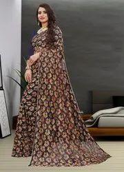 Dhanshvi Tex Party Wear Indian Saree, 5.5 m (Separate Blouse Piece)