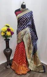Maitrik Plain Jacquard Silk Saree, 6.3 M (With Blouse Piece)
