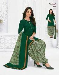 Green Unstitched Cotton Salwar Suit