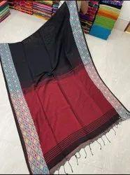 Kotki Weaving Par Linen Plain Sarees