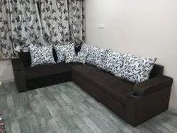 Wooden Antique L Shape Sofa Cum Bed, For Home, Size: 9x7