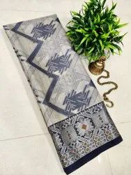 Casual Linen Chanderi Saree, With Blouse Piece