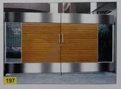 Silver & Brown Polished Stainless Steel Double Doors, For Commercial, Material Grade: 304