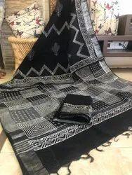 Bagru Hand Block Print Cotton Linen Slub Saree with Blouse Piece