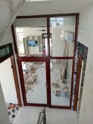 Wooden color aluminum Door Partition, For Interior, Type Of Door: Hinged
