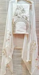 Aala creation Chiku color Chanderi Silk Dress Material, For Party Wear